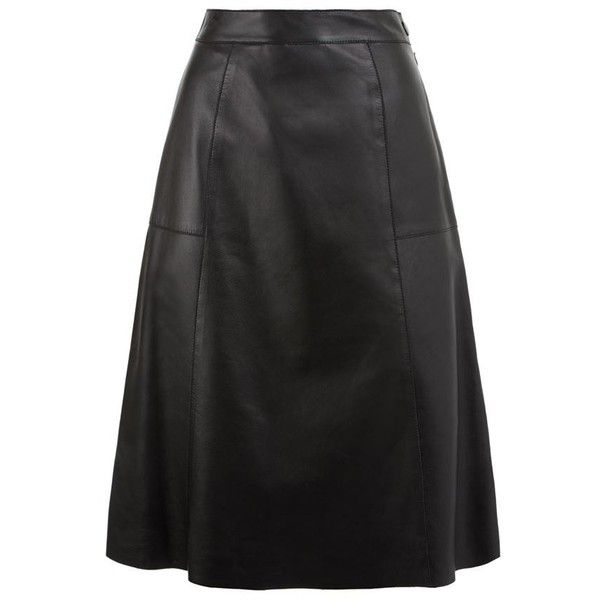 Whistles Leather A-Line Midi Skirt (€340) ❤ liked on Polyvore ...