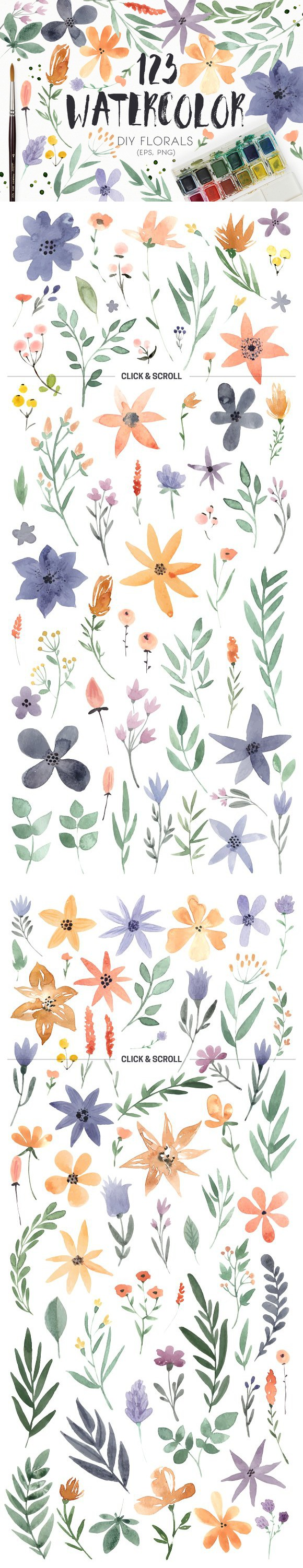 123 DIY Watercolor Flowers (EPS,PNG). Wedding Fonts. $15.00