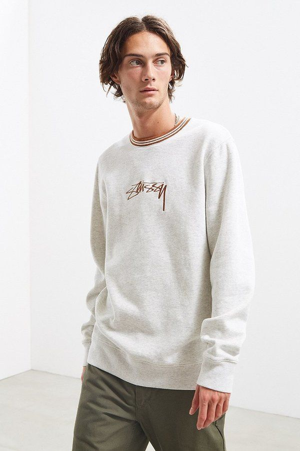 Stussy Contrast Collar Embroidered Crew Neck Sweatshirt
