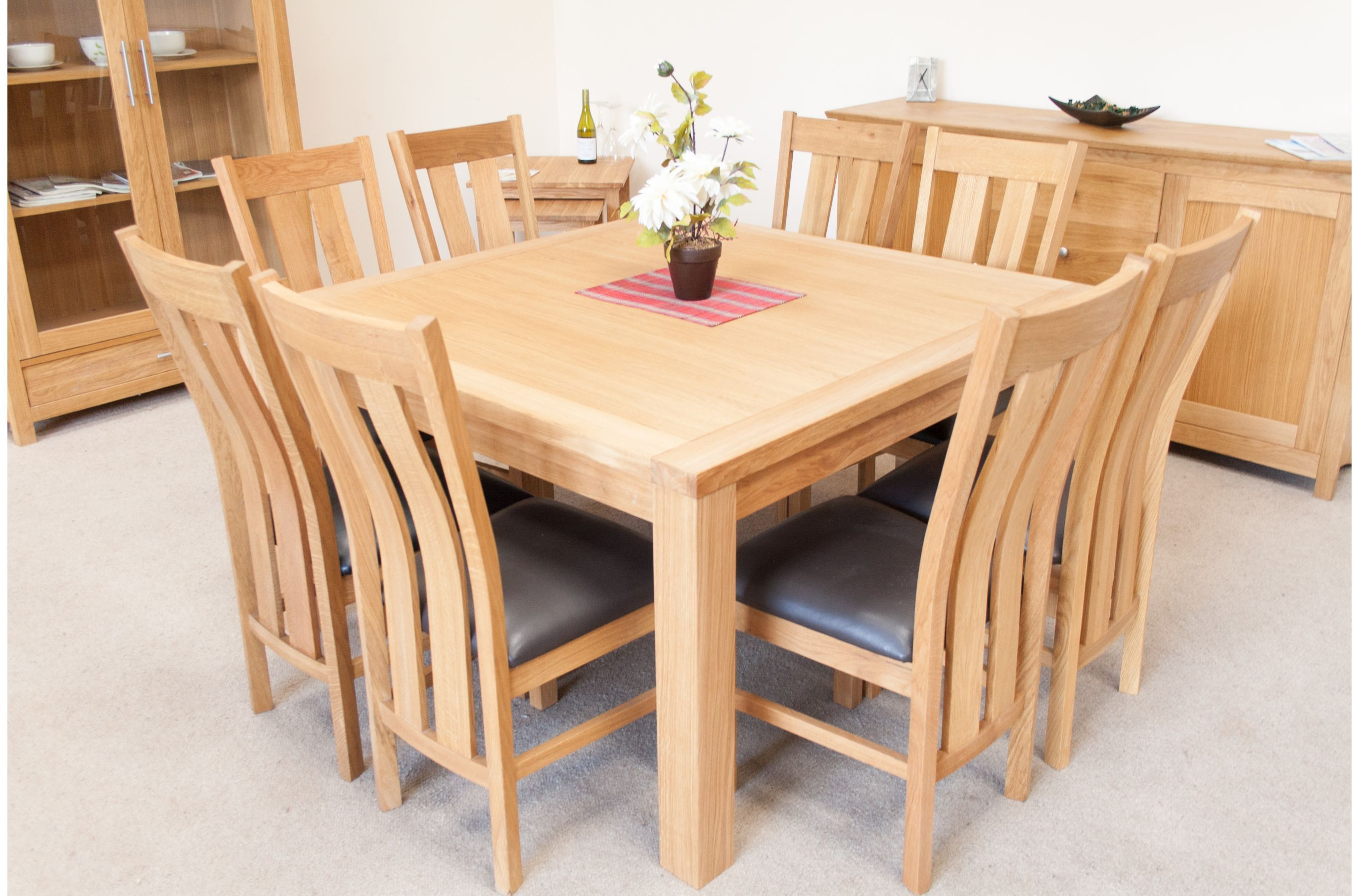 Minsk 130cm Large Square Oak Dining Table Seating 8 Dining Table