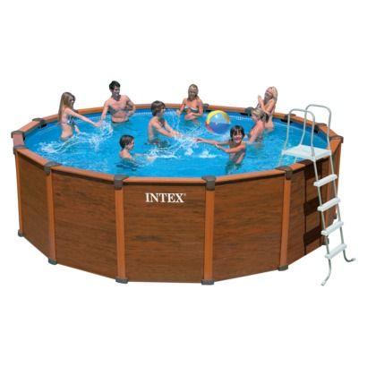 Intex Wood Grain Pool 18ft X52in Pools Pool Water
