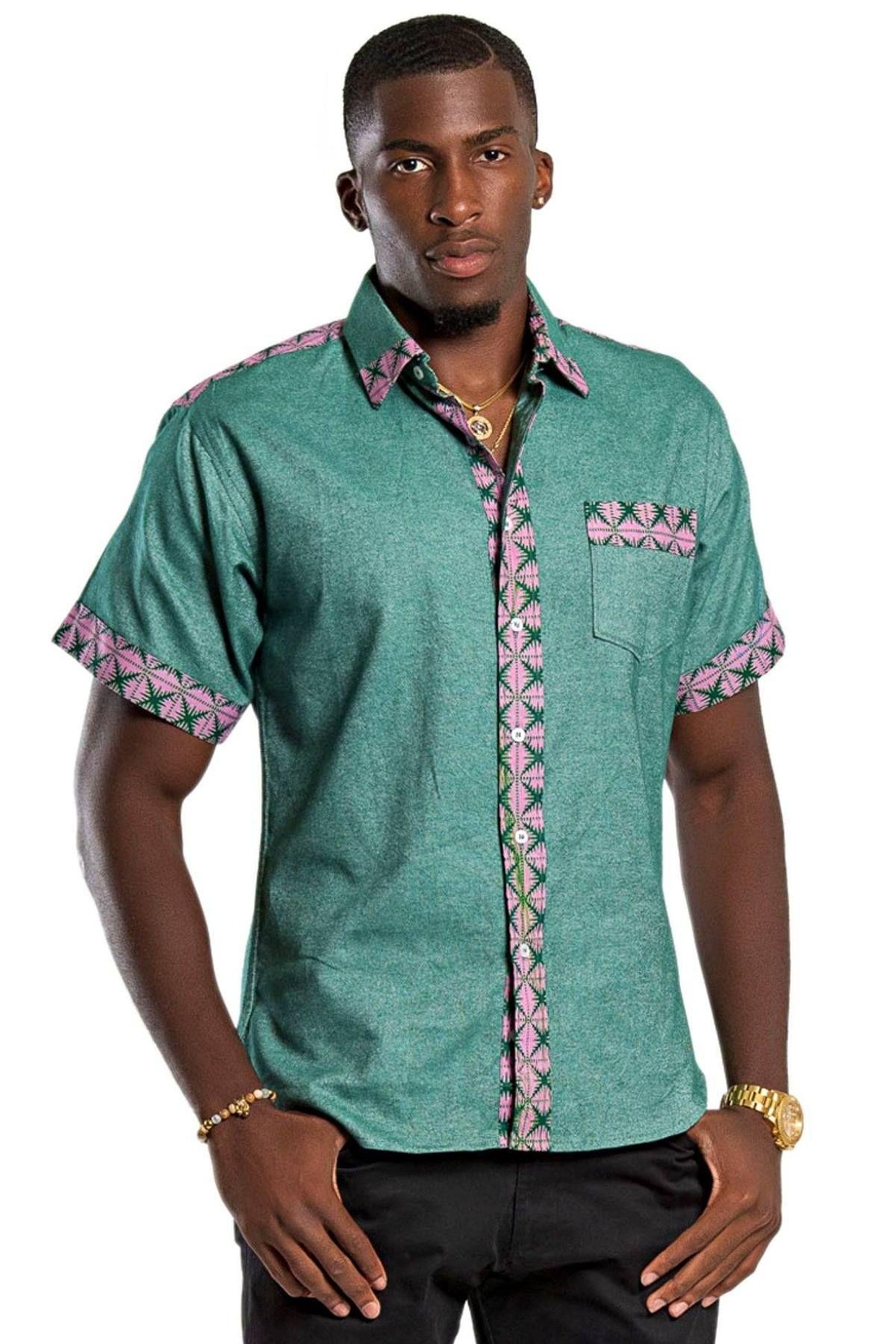 Fally african print short sleeve mens shirt green