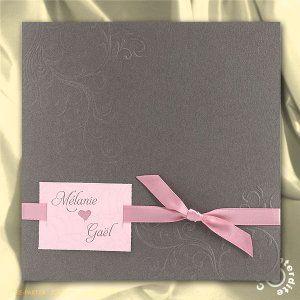 faire part de mariage pochette gris taupe et ruban rose ml16 050 wedding invitations. Black Bedroom Furniture Sets. Home Design Ideas