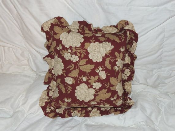 Burgundy Floral Throw Pillows : Burgundy floral throw pillow with ruffle by GabiLuBoutique on Etsy, $20.00 GabiLu Boutique ...