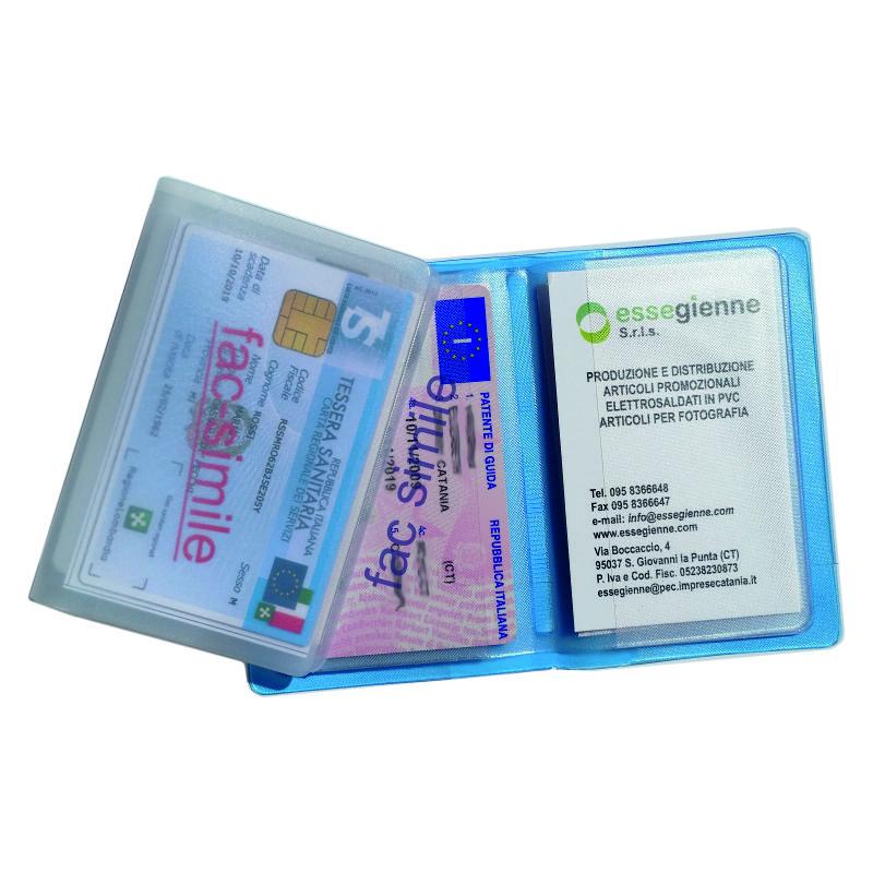 Porta Card 12 posti  Quantità: 300 pz.  Materiale: pvc motif colorato, satinato a base trasparente. Personalizzabile in serigrafia.
