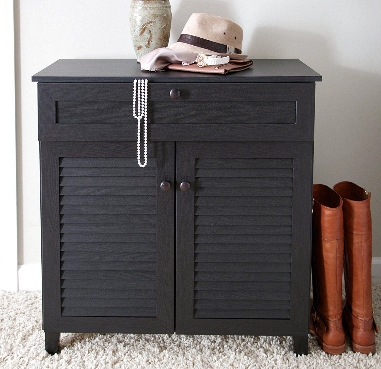 Amazon Com Baxton Studio Calvin Shoe Storage Cabinet Espresso