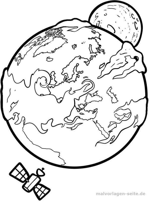 Malvorlage Erde | Kostenlose malvorlagen, Ziffern und Erde