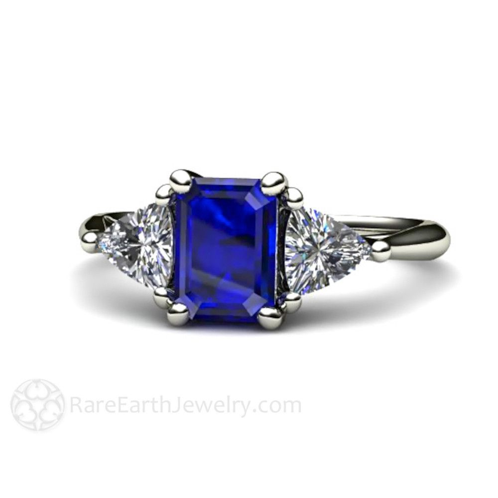 Rare Earth Jewelry 3 Stone Blue Sapphire Engagement Ring