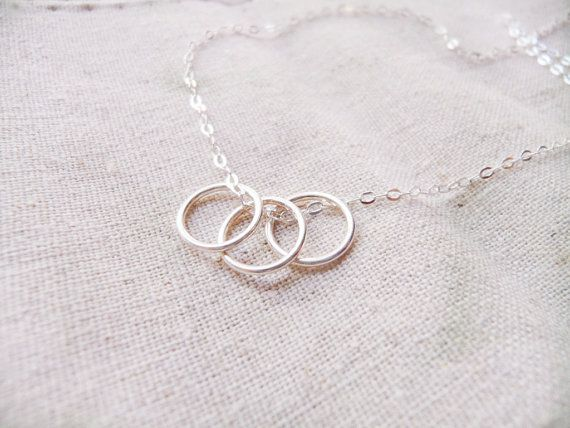 Triple Ring NecklaceSterling Silver Rings by CeciliaJewelry, $23.00