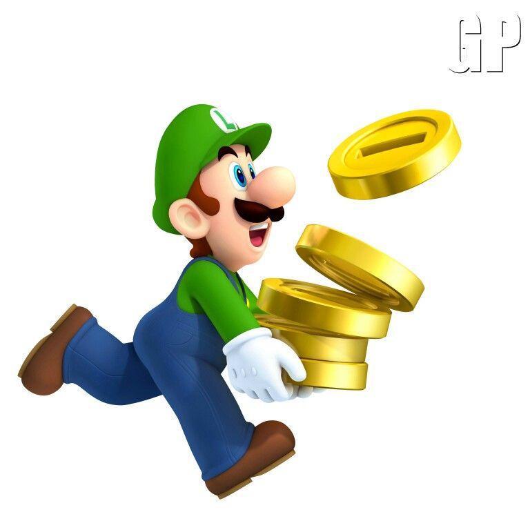 Luigi Beim Einsammeln Der Münzen In New Super Mario Bros 2 Mario