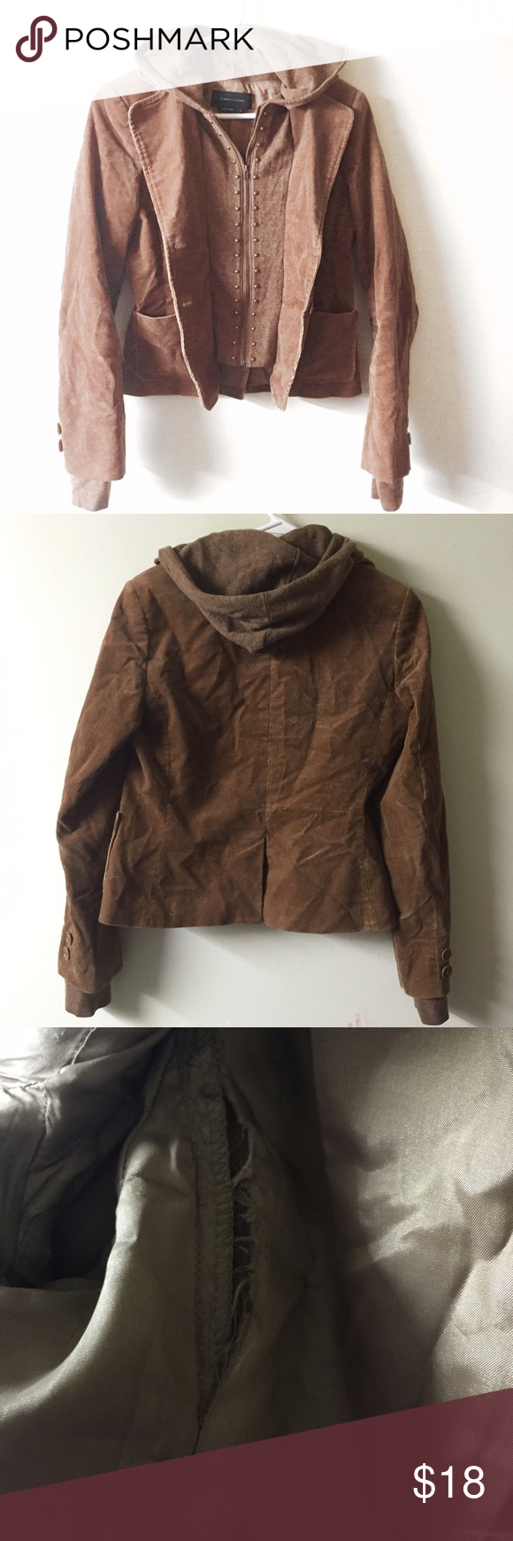 BcbgMaxazria brown 2 in 1 cashmere wool jacket Has one flaw as pictured in the inside armpit BCBGMaxAzria Jackets & Coats