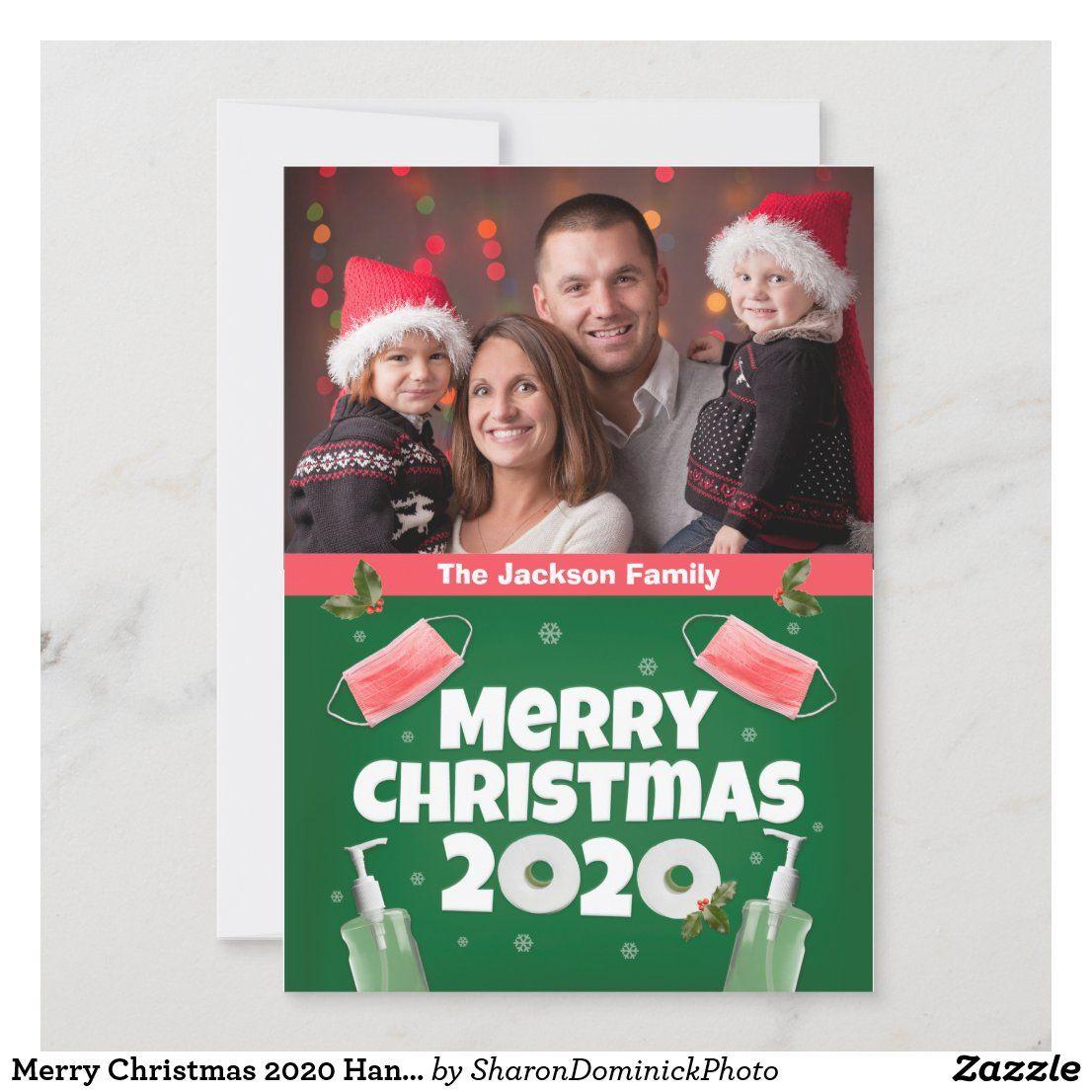 Merry Christmas 2020 Hand Sanitizer Face Mask Tp Card Zazzle Com Custom Holiday Card Merry Christmas Hand Sanitizer