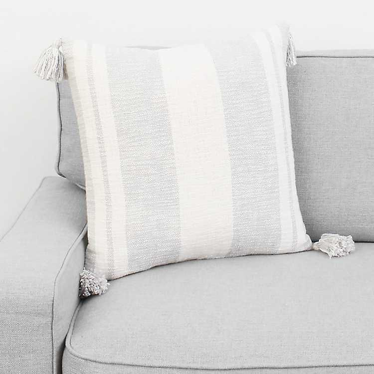 Gray farmhouse stripe with tassels pillow with images