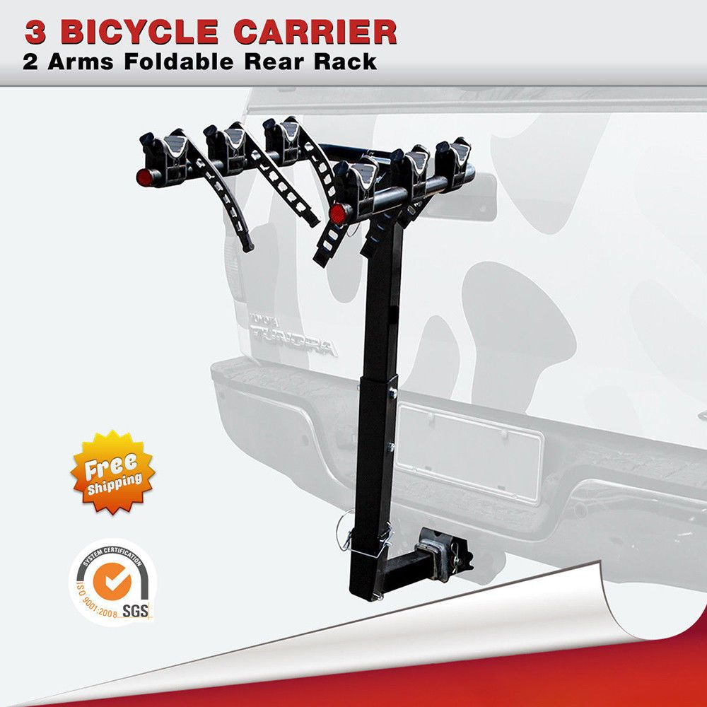 Steel 3Bike Hitch Mount Foldable Sports Bicycle Carrier
