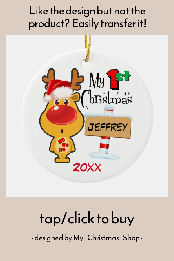 Baby's First Christmas Reindeer Custom Ceramic Ornament - tap/click to personalize and buy #CeramicOrnament #reindeer #custom #personalize #1st #first