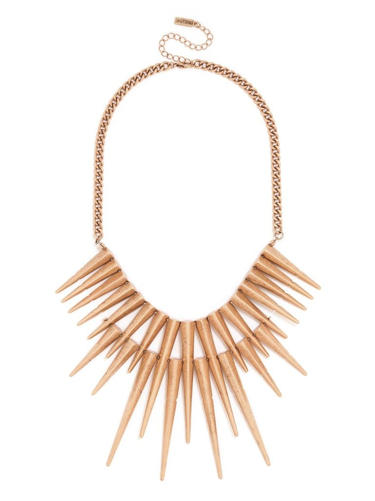 Sharp, gilded quills radiate from this gorgeous bib necklace, blending chic gold with rocker edge in this two-layer stunner that channels ancient Egypt.