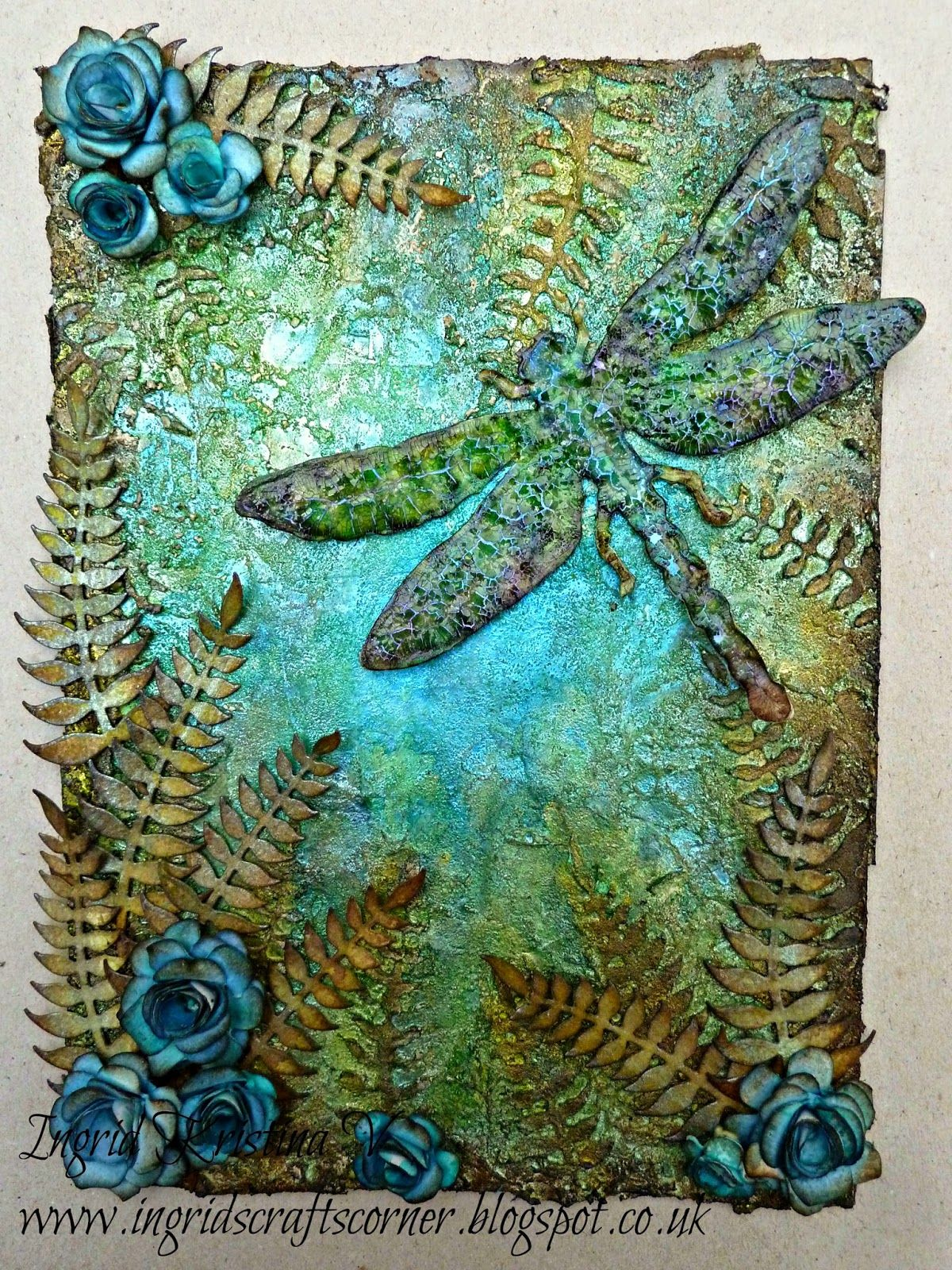 INGRID's CRAFTS CORNER: My Dragonfly art CASEd by Janine Tim Holtz, Ranger, Sizzix and Stamper's Anonymous products; Oct 2014; Oct 2014