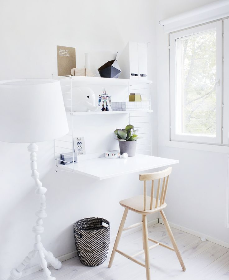 String System With A Small Desk White