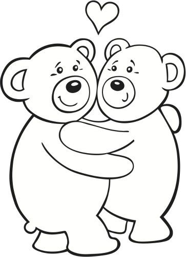 Teddy Bear Love Valentine S Day Coloring Page With Images Bear