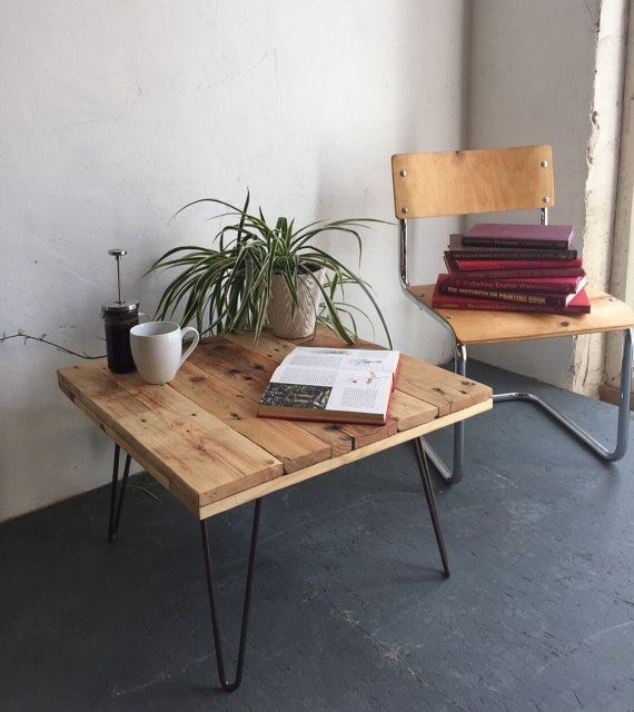 Diy reclaimed coffee table on eames style hairpin by for Eames style coffee table