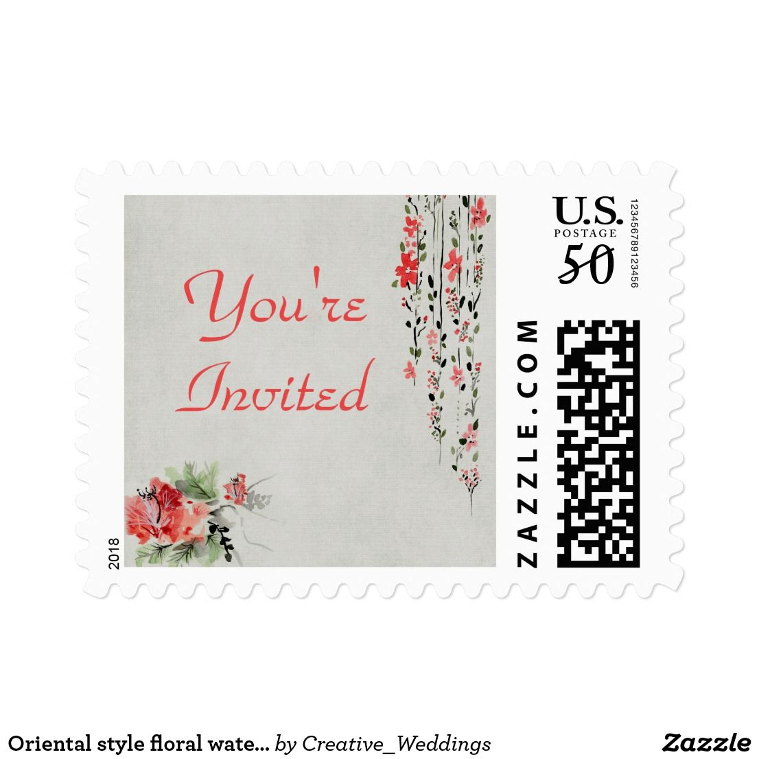 Oriental style floral watercolor invitation postage | Summer wedding ...