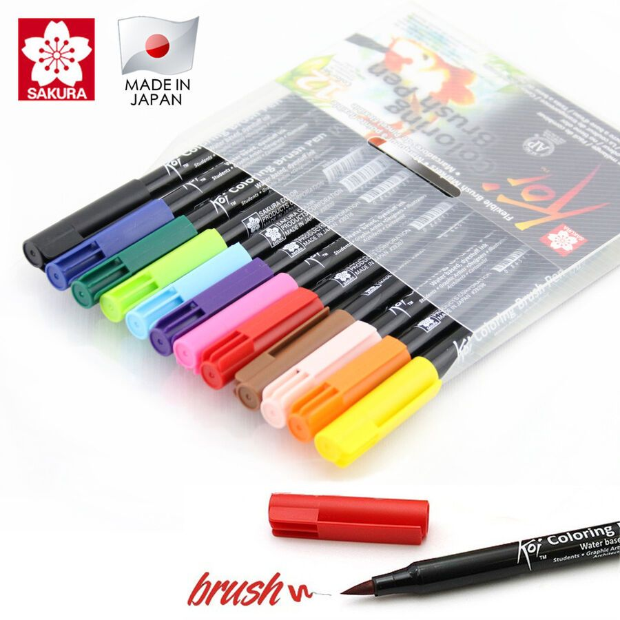 Made In Japan Sakura Koi Coloring Brush Pen Set With Blender Manga