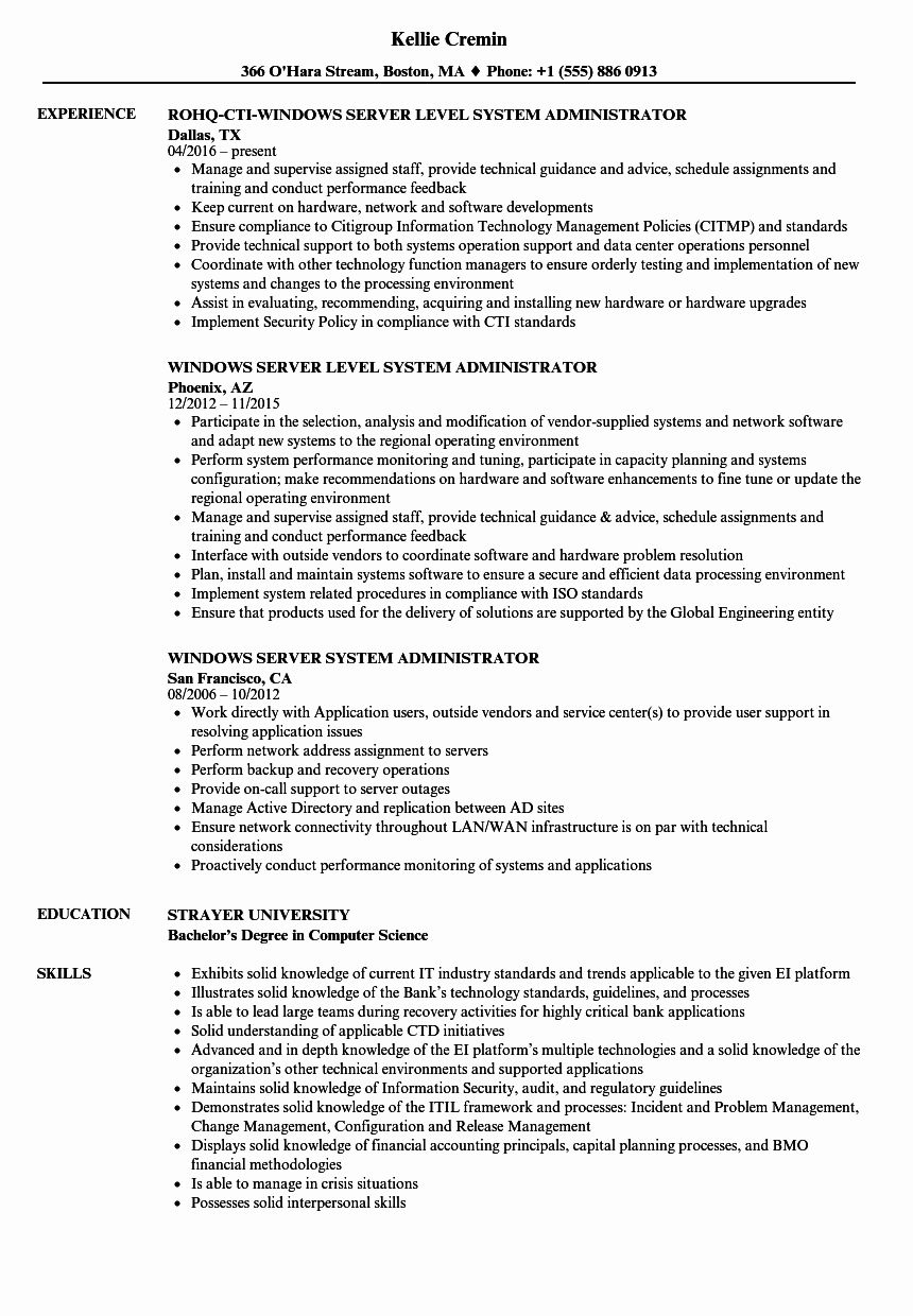 23 System Administrator Resume Examples in 2020 Project