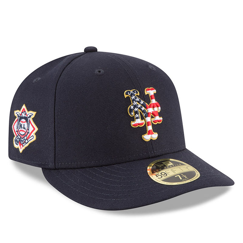 best service 8cbfd 0110f New York Mets New Era 2018 Stars   Stripes 4th of July On-Field Low Profile 59FIFTY  Fitted Hat – Navy