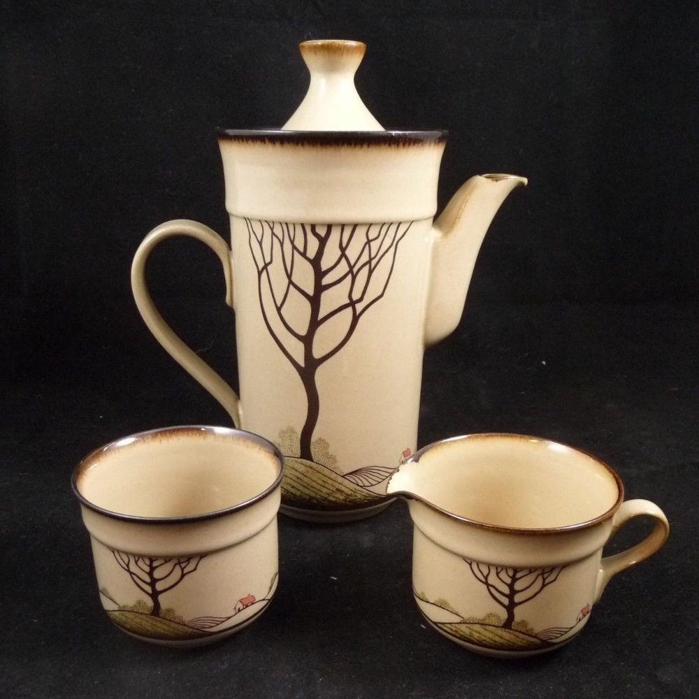Denby Savoy Coffee Pot + Sugar Bowl & Creamer Stoneware
