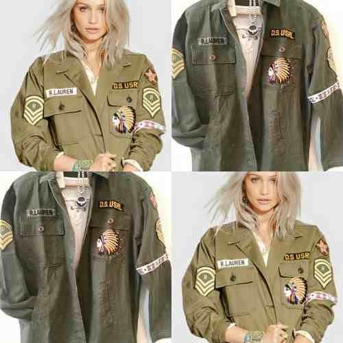 6a5ef41587980 Camisa Chaqueta Militar Bordada Ralph Exclente Calidad Mujer