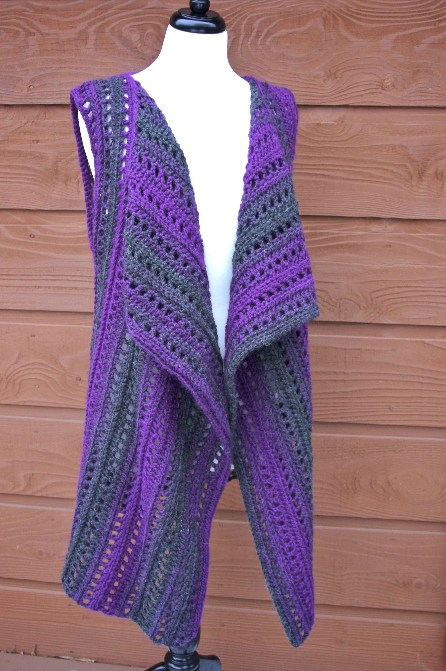 Brandywine Falls Vest Free Crochet Pattern with Lion Brand Scarfie ...