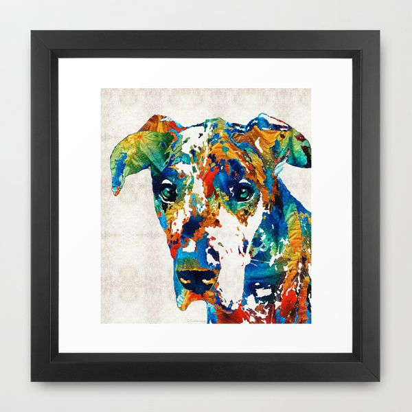 Colorful Great Dane Art Dog By Sharon Cummings Framed Art Print