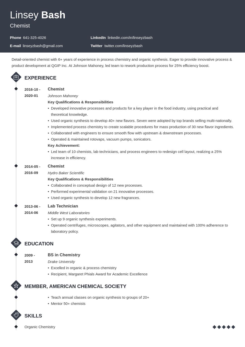 Chemistry Resume Example Template Diamond Job Resume Examples Resume Examples Resume Layout