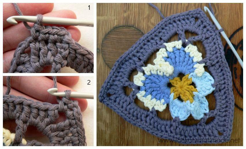 Crochet Pansy Triangle Round 3 Grannys Pansy Crochet Bunting ...