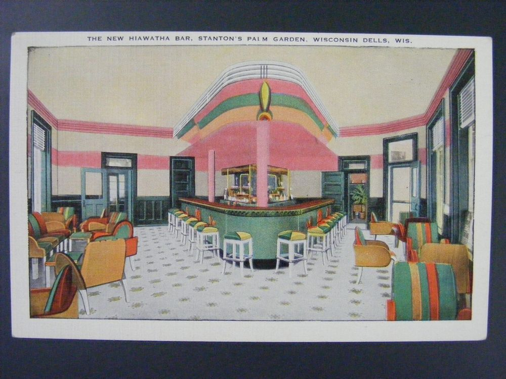 Wisconsin Dells WI Hiawatha Bar Stanton's Palm Garden Linen Postcard 1930-45
