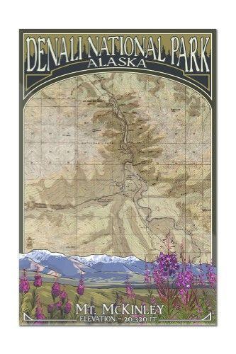 Denali National Park Topographic Map.Denali National Park Alaska Topographical Map Lantern Press