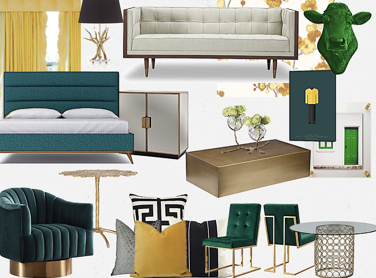 Emerald Green and Gold  Mustard yellow decor, Gold living room