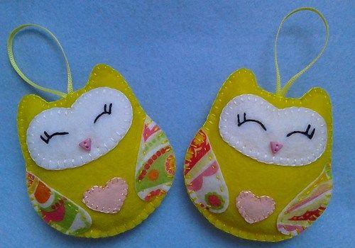 Handmade felt owls set of 2