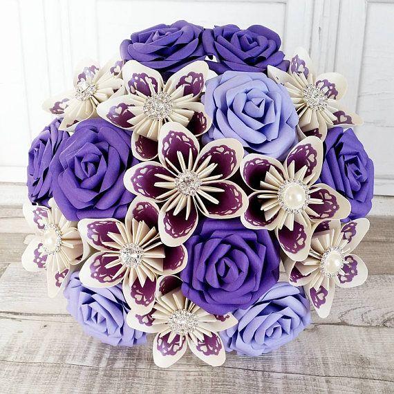 Paper Flower wedding bouquet rose origami kusudama lace royal | Paper flowers, Paper flowers ...
