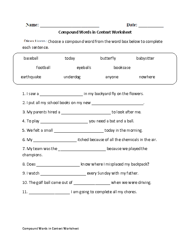 Compound Words In Context Worksheet Great English Tools
