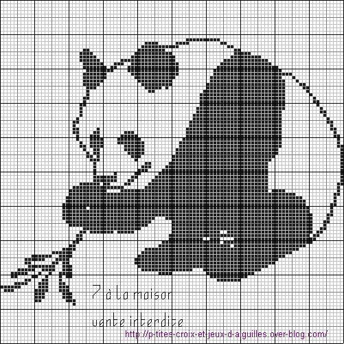 Grille gratuite un panda en monochrome tricot bebe pinterest - D m c broderie grilles gratuites ...