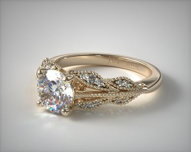 Engagement Rings Vintage 18k Yellow Gold Vintage Inspired Floral
