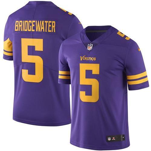Nike Vikings #5 Teddy Bridgewater Purple Men's Stitched NFL Limited Rush Jersey