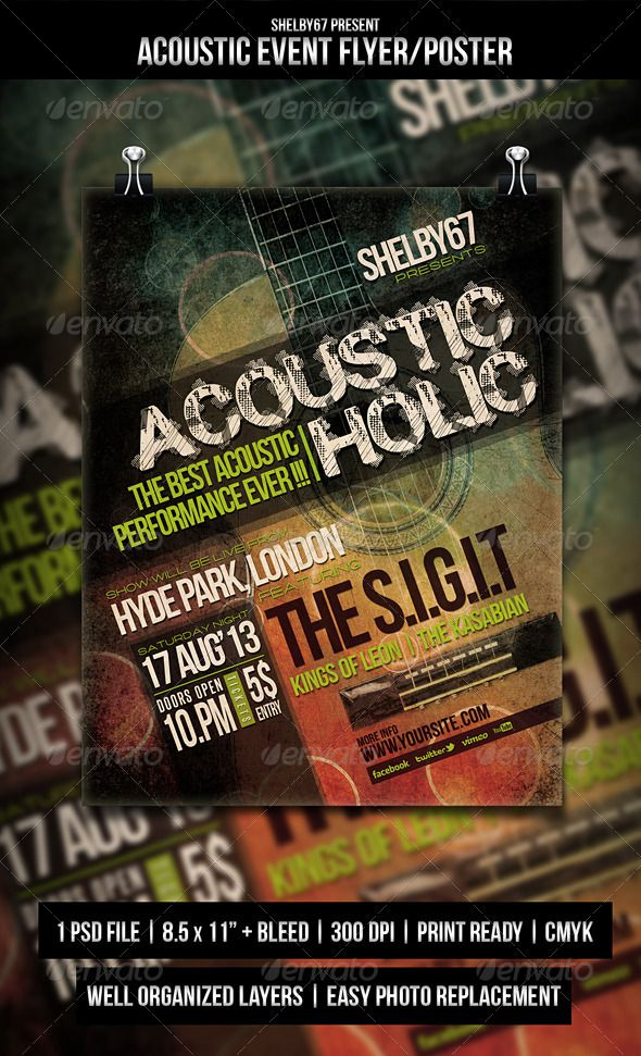 Acoustic Event Flyer \/ Poster Event flyers, Acoustic and Flyer - event flyer templates