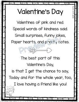 Außergewöhnlich Valentines Day   Friendship Poem For Kids