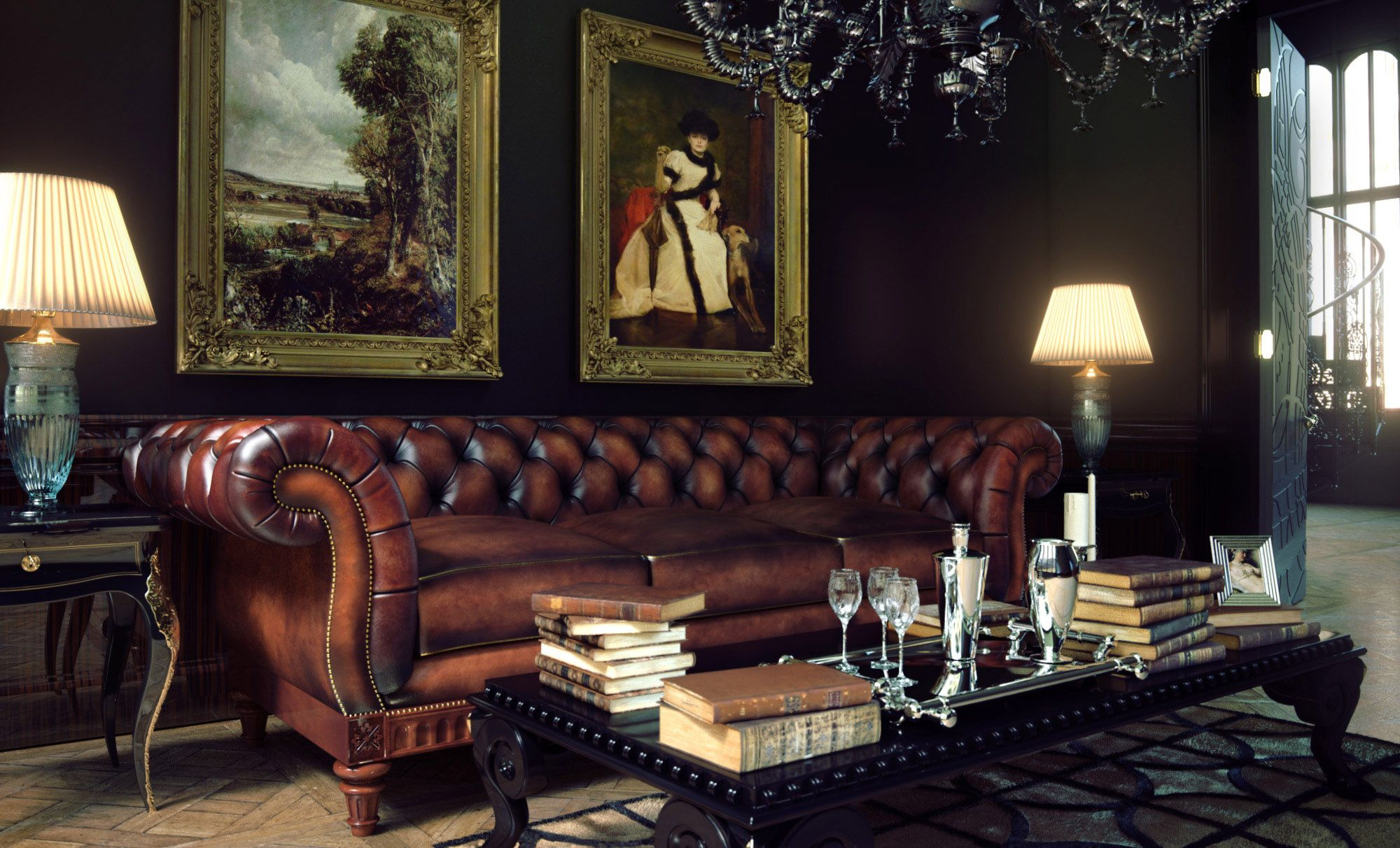 Furniture Brown Leather Chesterfield Couch With Chandelier And Table Lamp For Living Room Decoration Ideas Brown Living Room Decor Furniture Lamps Living Room