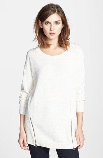 Halogen® Zip Detail Long Sleeve High/Low Sweater available at #Nordstrom
