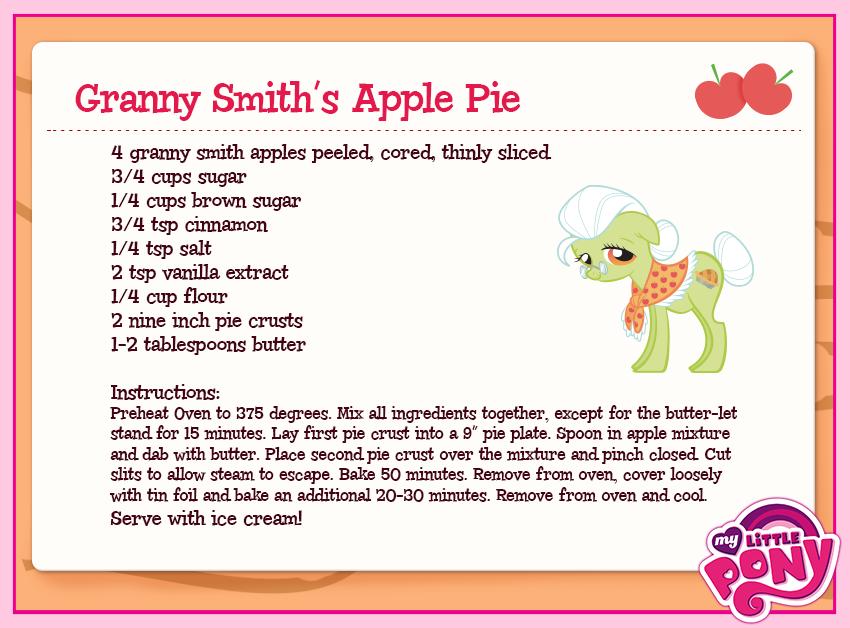 my little pony granny smith apple pie recipe {Raileigh