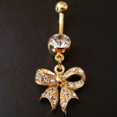 14g-3-8-Bow-Belly-Button-Navel-Rings-Ring-Bar-Body-Piercing-Jewelry-GIFT-U53