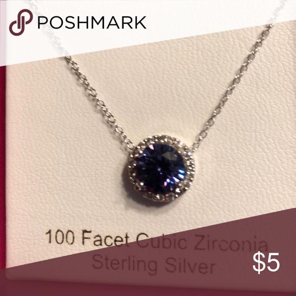 2 Ext. Sterling Silver Purple Color CZ Open Flower Stud Earring /& Necklace Set 16